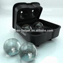 Fabricante de la bola del hielo - bandeja de la novedad de la bandeja del molde del hielo del silicón de la Alimento-Grado con la bola 4