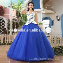 Venda quente elegante vestido de vestido de bola grande azul vestido de casamento Berta Vestido de noiva com vestido de bola azul Sweetheart