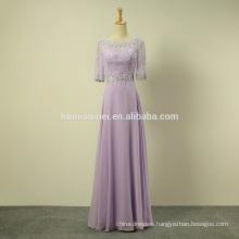 green and purple color short sleeve chiffon long evening dress 2016