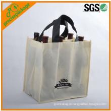 saco não tecido reusável personalizado de alta qualidade do vinho da garrafa do eco relativo à promoção
