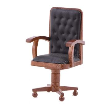 1/12 scale victorian dollhouse office chair with leather