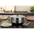 2 Lapisan Sup Pot Pot Steamer Stainless Steel