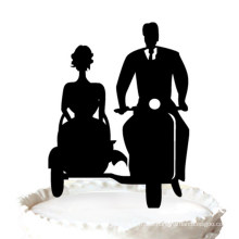 Bride and Groom with Motorbike Acrylic Cake Toppers