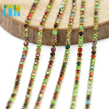 Supply in Bulk Decorative Mix Color Charm Rhinestones Close Silver Cup Chain for Crafts, G0104