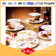 AB Grade porcelana 2 Floors camadas Firing design cerâmica Cake Plate prato de jantar prato de porcelana