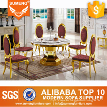 use golden stainless steel dining room furniture set for sale