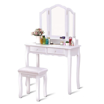 Tri Folding Mirror Bathroom Vanity Makeup Table Stool Set 4 drawers wardrobe dressing table designs