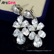 pendiente fábrica china oro blanco plateado joyería de moda pendiente del encanto