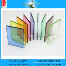 3/4/5 / 6mm + 0.38 Transparente PVB + 0.38 Color PVB + 3/4/5 / 6mm Seguridad Vidrio Laminado