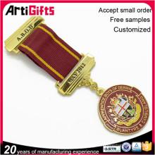 Wholesale souvenir metal custom hard enamel medal and badge