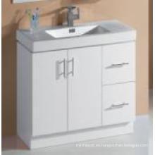 Gabinete de baño brillante blanco de MDF de las mercancías sanitarias con el solo lavabo (P6011-900G)