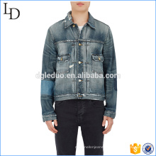 Dark stone bike jeans wholesale china with patchy classic denim jacket