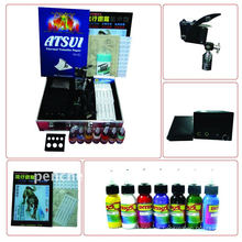 Kit de tatuaje profesional LCD de potencia 1 máquinas pistolas 1 agarre agujas máquina de suministro de tinta