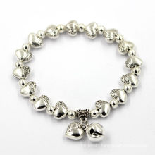 Fashion Heart Charms Jewelry Silver Custom Logo Bead Metal Bracelet