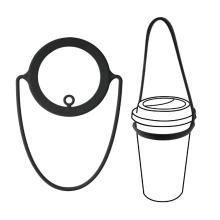 Suporte de silicone para café para viagem reutilizável com alça de amarração