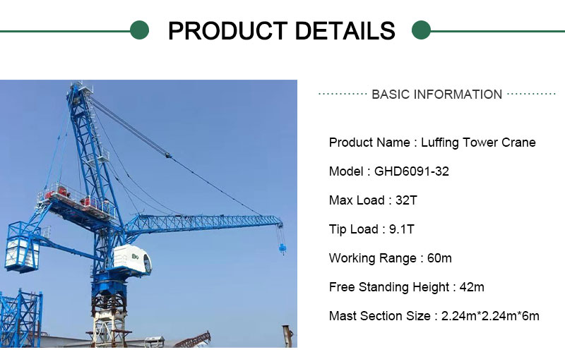 luffing tower crane 32 ton