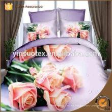Chino 100% poliéster 3d flor impreso cama conjuntos, fábrica de hebei