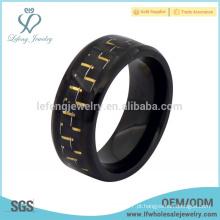 Antique preto titânio anel de fibra de carbono, personalizado anéis de titânio preto