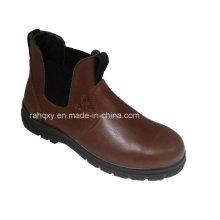 Chaussures de sécurité en cuir lisse brillant avec Mesh doublure (HQ06005)
