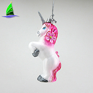Ornamentos de cristal modificados para requisitos particulares coloridos del unicornio
