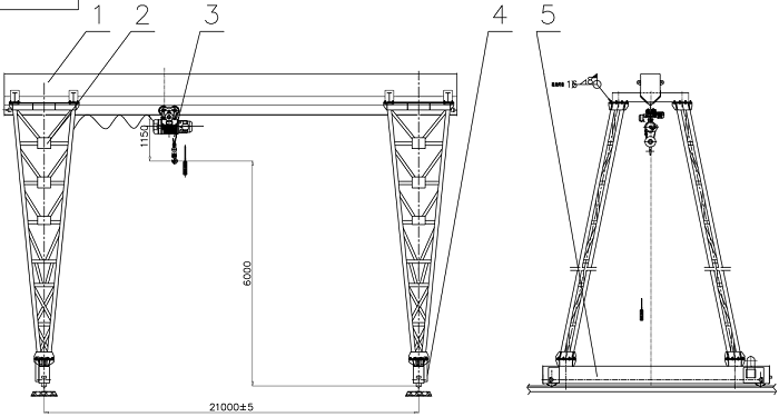 10 Ton Single Beam Gantry Crane