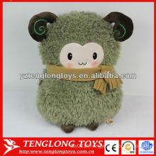 Cute carneiro macio animal pelúcia mão aquecedor travesseiro