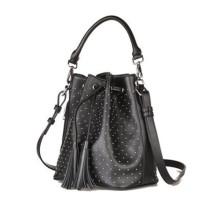 2015 Ladies PU Drawstring Bucket Bag with Unique Design