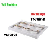 6 caja de cuero blanca del sostenedor de la exhibición del brazalete de la ranura (TY-6WW-A1)