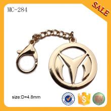 MC284 Пользовательские золотой металлической сумке тег этикетке пластину с логотипом цепи застежка