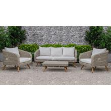 Ensemble de canapé en rotin en poly synthétique luxueux et très luxueux avec des jambes haute en bois pour meubles de salon ou de salon