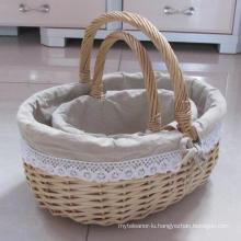 (BC-WB1019) High Quality Handmade Natural Willow Basket/Gift Basket
