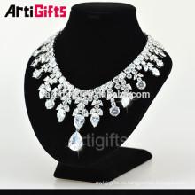 Collar de diamantes de lujo diseños chapado en oro blanco joyería de collar de la boda de diamantes de circonio cúbico