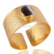 Black Agate & Hammered Handmade Brass 18K Gold Plated Cuff Bracelet