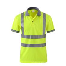 Pólo de segurança respirável amarelo fluorescente com fita reflexiva customzie logo availible