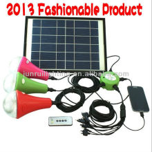 Rechargeable solar LED home lights with 3 LED bulbs and mobile charger