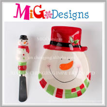 Benutzerdefinierte handgefertigte Weihnachtsgeschenk Keramik Schneemann Snake Plate und Treuer Set