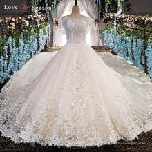 LS00151 de hombro peplum último decente appliques flores de tela para las mujeres más tamaño novia blanco vestido de novia