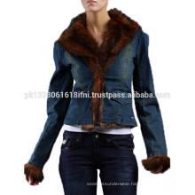 women girls fashion wear jeans jacket with fur for warm winter custom made