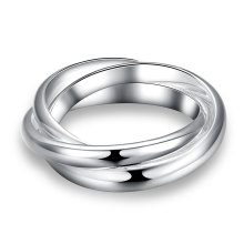 Einfache Drei Kreis Ring Silber überzogene Ring Schmuck