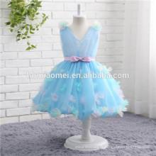 2017 nouvelle mode courte conception bleu couleur sans manches robe de bal dentelle fleur fille robe en gros