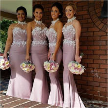 Graceful Halter Chiffon Long Mermaid Bridesmaid Dress With Flowers Lace Applique Dresses For Wedding Guests Free Shipping ML120