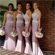 Изящные длинные Холтер шифон Русалка платье подружки невесты с цветы кружева аппликация платья для гостей свадьбы Бесплатная доставка ML120