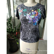 Summer Flower Printed Embroidered Attractive Women′s T-Shirt