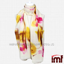 2014 Lady Noble Yellow Floral Hand Drawing Wool Scarf