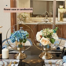 Golden Metal candlestick flower vase decorate house