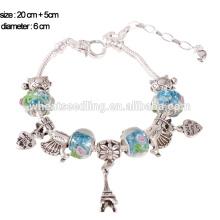 Bracelet en alliage de perles de verre murano à la mode 2015, bracelets de charme, bijoux faits à la main