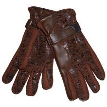 Luvas acrílicas de couro pu moda feminina malha (yky5003)
