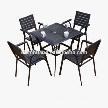 Modern plastic wood 4 seater table set 5PCS wooden outdoor furniture