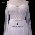 V back spaghetti strap long sleeve wedding dress sweetheart neckline wedding dress