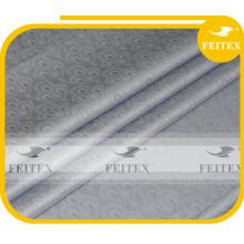 Latest Design African Fabric Guinea Brocade 100% Cotton Nigeria Damask Shadda Bazin Riche Grey Color FEITEX